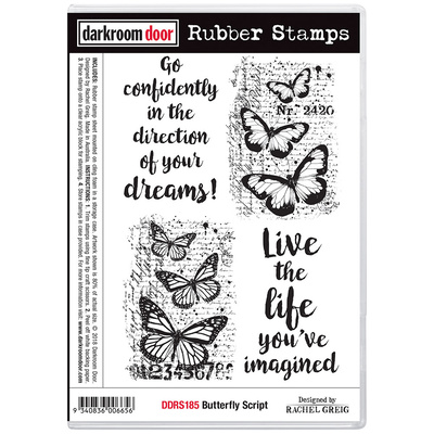 Rubber Stamp Set - Butterfly Script